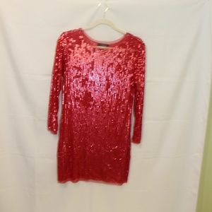 Arden B red sequin party holiday dress size M